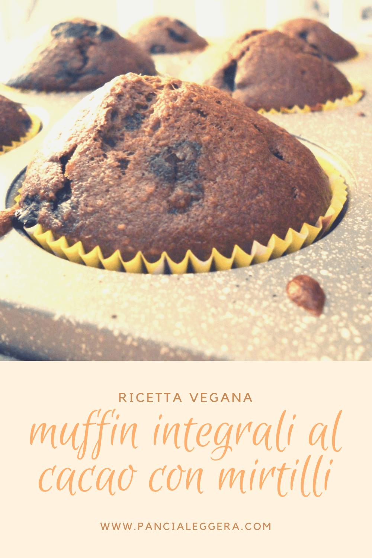 Muffin integrali vegani al cacao con mirtilli – ricetta senza lievito, burro e uova